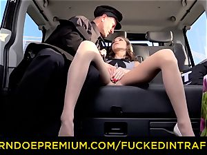 romped IN TRAFFIC nubile Gina Gerson cuckold car bang-out