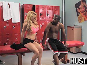 busty cheerleader Corinna Blake fed spunk after bbc fuck