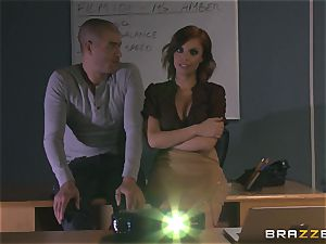 steaming red-haired teacher Britney Amber flashes student how its done