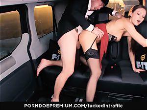 penetrated IN TRAFFIC - Footjob and car hump with Tina Kay