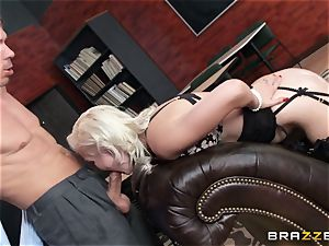 Smoking red-hot light-haired Jenna Ivory in black undergarments