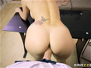 Mature tattooed secretary Monique Alexander with enormous bra-stuffers entices her manager and bj's his salami