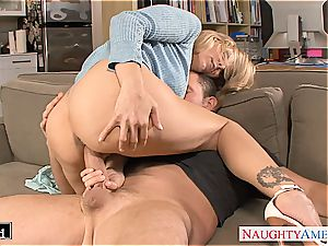 ash-blonde Julia Ann gets drilled and facialized