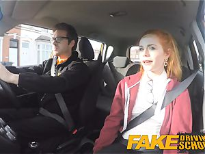 faux Driving school super-cute red-haired Ella Hughes plumbs