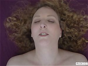 Curly damsel gropes her clittie