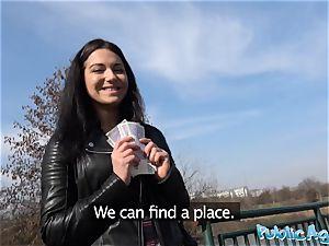 Public Agent Russian waitress penetrated outside in public