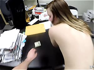 plane titted youthfull stunner gags on cock to get hired