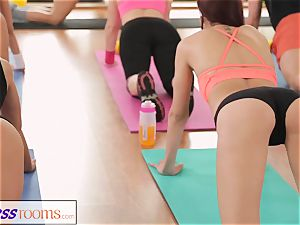 FitnessRooms epic backsides on demonstrate before lesbian babes
