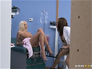 Tory Lane and Rikki six share a masculine nurses pink cigar