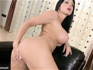 Aletta Ocean humungous orb stunner dildoing on couch