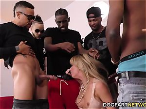 Cherie DeVille Gives blowage To A group Of ebony guy