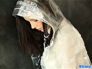 Bukakke schoolgirl jerking at gloryhole