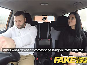 faux Driving school Jasmine Jae completely bare bang-out in car