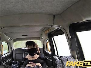 fake taxi killer youthful black dame in bodysuit