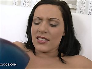 Raven haired fuckslut gaped her twat with fierce fuck sticks