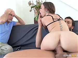 Mean wife Riley Reid takes it deep in front of her hubby