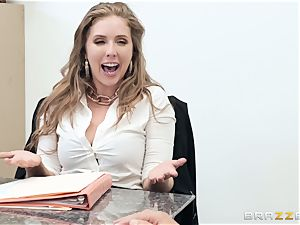 Office pulverize with huge-chested chief Lena Paul