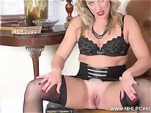 blonde finger pokes humid vagina in girdle antique nylons