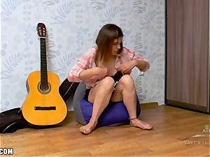 Erika fondles her ultra-kinky clittie