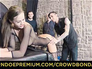 CROWD restrain bondage - extreme bondage & discipline pummel wheel with Tina Kay