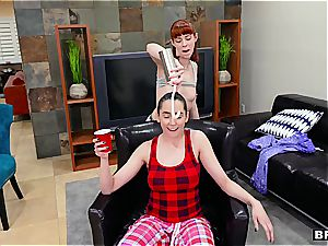 three insatiable stunners turning a pajama party into a lovemaking with stepbro