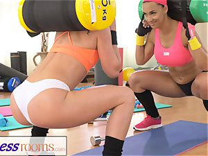 FitnessRooms 2 all girl gym buddies having a exercise
