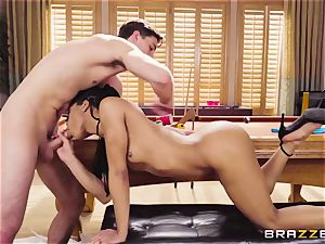slim ebony doll Kira Noir tempts a young stud and takes his rod
