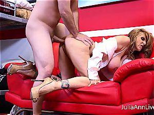 Julia Ann getting splashed with jizm