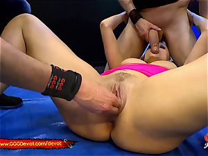 going knuckle deep and unloading in a urinating gangbang For cougar