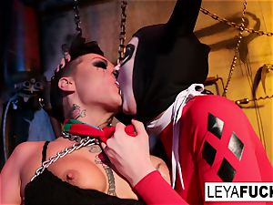 Whorley tantalizes her marionette in the Boiler room
