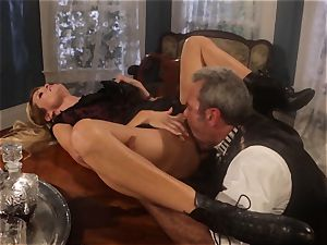 Jessica Drake fucks the sheriff across the dining table