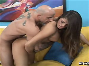 chesty pornographic star wails while her wet cooter is boinked rock-hard