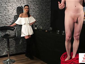 CFNM female dom trains jerkoff at the bar