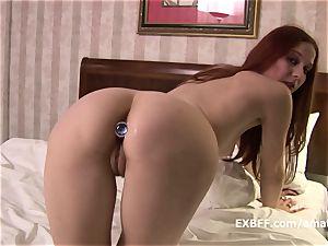 joy button ass-fuck jiggling orgasm using homemade wooly snatch