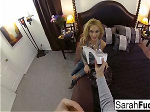 buxom pornographic star Sarah pokes
