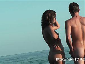 cool gal spy at beach uber-cute bootie naturist shots