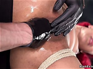 ebony slave fisted and made pumping out