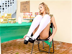Scout babe Blair Williams sells her red-hot cookies