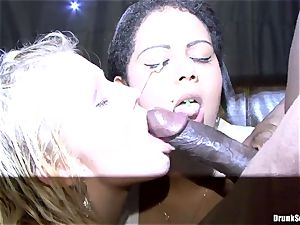 Bibi Fox and inebriated friends enjoy ebony come on face
