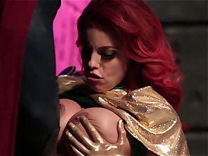 Britney Amber inhales off a mischievous superhero