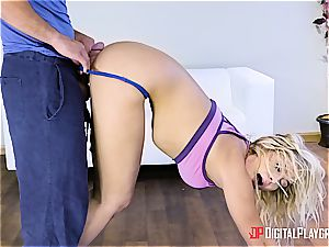 Blair Williams flashes some salami yoga after class