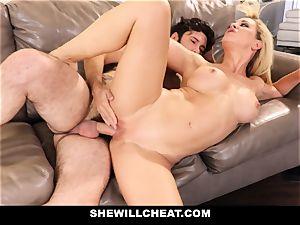 SheWillCheat hotwife wifey Gags on pecker