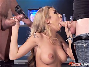 Kat Dior has a nail with guy and machine