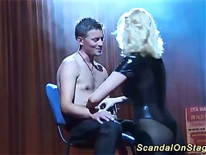 huge-titted babe lapdance on public stage