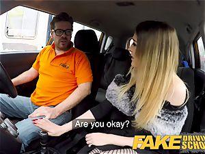 fake Driving school smallish learner with diminutive boobies