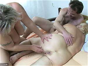 OldNanny grandmother and mature drained hairy puss