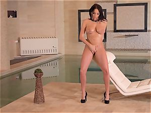 big-boobed French cougar fingers Her moist gash