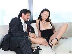 sassy Dillion Harper shafted by a suited guy