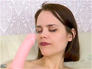 smallish fur covered Russian enjoys her dildo