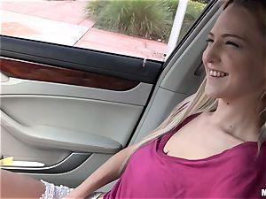 slim platinum-blonde Mila Evans gets picked up to drill
